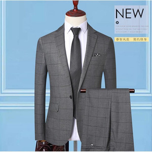 Men's suit 2-piece wedding bridegroom best man small dress Korean slim business casual Plaid suit