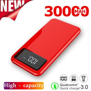 30000mAh Power Bank Portable Outdoor Travel Charger LCD Digital Display LED Light for Xiaomi Samsung IPhone Powerbank