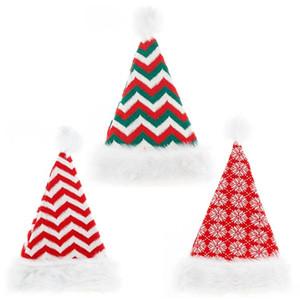 hot Strickmütze Christmas Hat Weihnachten hochwertige Plüsch gestreifte Feiertagsdekoration Partyhüte Sankt-Hut 3style T2I51562