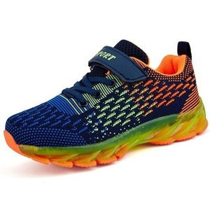 Size 31-37 Boys Running Shoes Kids Sneakers Rubber Sole Outdoor Sport Sneaker New Fashion School Training Breathable Girls Shoes 201017