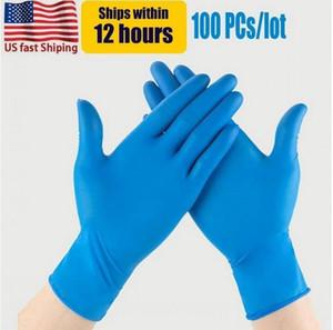 Guantes desechables de Nitrilo azul de los Estados Unidos Polvo libre (no látex) - Paquete de guantes de 100 piezas Guantes anti-ácidos antiácidos FY4036
