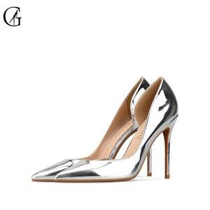 GOXEOU mujeres de Bombas PU brillante Oro Plata D'Orsay punta estrecha oficina de boda de la manera atractiva del estilete de las señoras de los tacones altos Size32-46