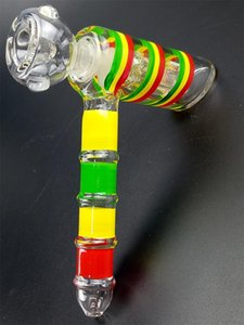 New Design Thick Glass Water Pipe Color Striped Tape Charlotte Hammer Fashion Design Hookah Permeator Small oil burner water Rig Glass