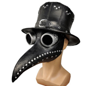 Adult Black Riveted Pu Leather Halloween Plague Doctor Flat Hat Steampunk Gothic Cosplay Costume Props