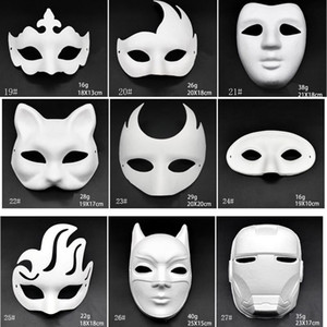 White Makeup Dance Masks Embryo Mould DIY Painting Handmade Mask Pulp Animal Halloween Festival Party Masks White Paper Face Mask BH2912 DBC