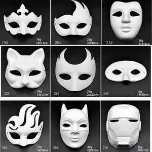 El yapımı Pulp Hayvan Cadılar Bayramı Şenliği Parti Maskesi Beyaz Kağıt Yüz Maskesi BH2912 DBC Maske Boyama Beyaz Makyaj Dans Maskeler Embriyo Kalıp DIY