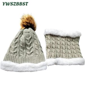 New Autumn Winter Children Hat Scarf Collar Ring Warm Boys Girls Knitted Hat Kids Beanies Baby Cap Scarf 2pc Set 201021