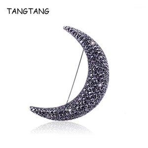 Tangtang Moon بروش أسود العتيقة اللون الأول r الشهر القمر دبابيس دبابيس للرجال والنساء كامل حجر الراين مجوهرات pin1