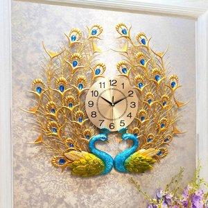 Doble Reloj de pared de pavo real Hogar Digital Wall Watch Sala de estar Dormitorio Silent Reloj Decorativo Moderno Diseño Relojes