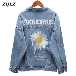 ZQLZ Denim Otoño capa de la chaqueta de las nuevas mujeres del bordado Slingle de pecho flojo Primavera Mujer Negro Casual Abrigo Mujer 201004