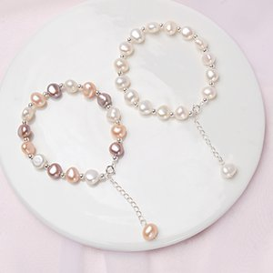 Natural For ASHIQI Sterling Pearl 925 Q1118 Women Bracelet Baroque 8-9mm Jewelry Gift Silver Ktadp