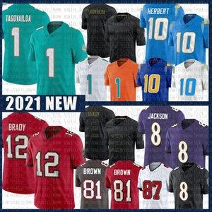 12 Tom Brady 1 Tua Tagovailoa Lamar Jackson Jersey Antonio Brown Justin Herbert TampaBaíabucaneiroRavensMiamiGolfinho