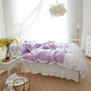 13372 cotton 100% pure lace princess bedding set bedskirt pillowcases duvet cover full queen king size home textiles