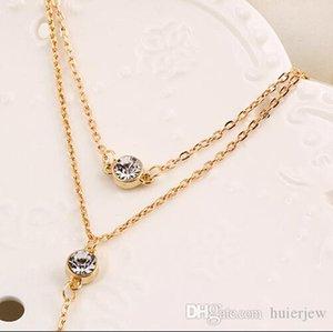 جولة القلائد قلادة كريستال مع الماس والمجوهرات للتبادل الأزياء الجميلة الحلي المعلقات القلائد