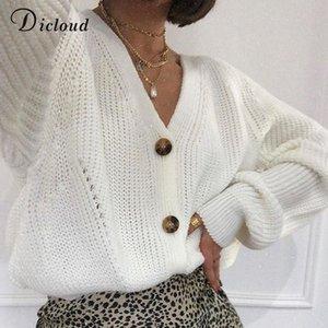 DICLOUD White Cardigan Women Winter Long Batwing Sleeve Oversized Knitted Sweater Hollow Out Knitwear Korean Style 201014