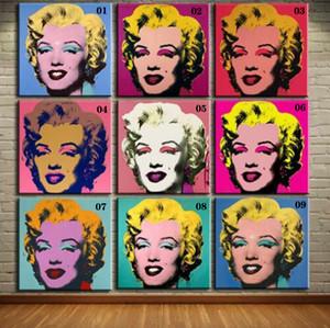 "Açık Tuval Wall Art Canvas Paintings 201016 Boyama 9 adet 28x28"" Ev Dekorasyon El Sanatları Petrol Andy Warhol Pop Art Marilyn Monroe seti"