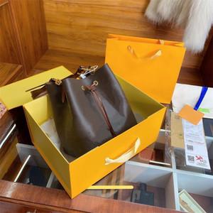 Clásico con calidad MM Cubo Caja Luxurys Bolsos Bolsa de hombro bolsa de eliminar flores originales NEONOE Brown diseñador de las mujeres de cuero de vaca-le Hngw