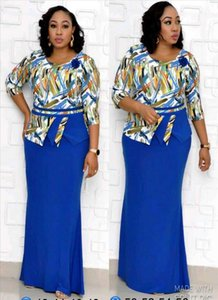HGTE XL 4XL grande taille Femme African Mother Christmas Robe Fake Two Piece Print Pêche de Noël Carnaval Night Robe longue