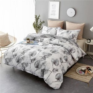 ADOREHOUSE 3PCS Bedding Sets Printed Quilt Cover Pillow Case Queen King Beddinge Covers Polyester Bedclothes Home Textile
