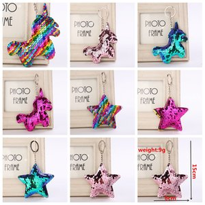 Sequin Unicorn Star Key Chain Christmas Keyring Cell Phone Bag Pendant Keychain Mermaid Key Ring Home Decor Kids Toys 8styles AAA1055