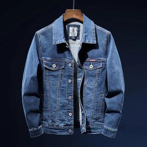 2021 Nuovo Autunno Uomo Blue Denim Giacca Fashion Casual Cotton Elasticity Jeans Cappotto Abito da marca maschile