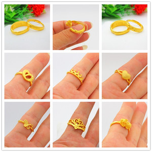 Vietnam Placer Gold Starry Sky Open Ring Mens and Womens Artificial Pure Gold 999 Couples Glossy Pair of Wedding Rings