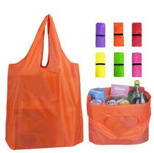 Folding Shopping Bag Home Storage Organization Bag Recycle Storage Handbags Solid-color Oxford Fabric Bags Recycle Shopping Bags GWD2105