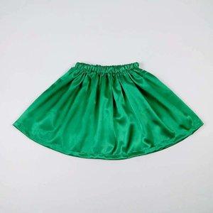 Satin Green Children Baby Girl Summer Tutu Faldas Niños Realice el traje de la fiesta de baile Traje corto Falda Pettiskirt Ropa Falda 2-12Y