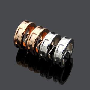 Accessoires design boucles d'engrenage gros groove B-lettre couple de Boucle d'oreilles pour les femmes et les hommes