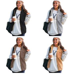 Frauen Berber Flohefellpelz Weste Reißverschluss Top Winddicht Warme Wintermäntel Hohe Kragen Weste Sleeveless Fleece Plüsch Flaumy Outwear E123102