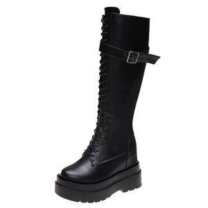 Cravatta Inner Aesatening Boots Boots Belt Fibbia e Velluto PIATTAFORMA ALTA PIATTAFORMA PIATTAFICA CAVALLOGGIO INTERNO ACCELDENTE Scarpe da ginocchio