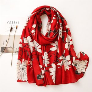 Scarf Female Literary Flower Cotton and Linen Feel Long Spring and Autumn Travel Shawl with Beach Towel Warm Scarf