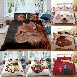 ZEIMON 3D Lovely Cat Kitty Bedding Set Dog Animal Duvet Cover Bedding King Queen Sizes Bed Set Printed Home Textile Bed Linen 1012