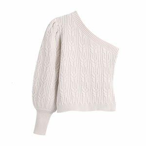 New Beige One Shoulder Knitted Woman 2021 Y2k Asymmetric Puff Long Sleeve Crop Sweater Women Fashion Streetwear Guoh