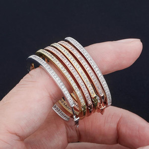 1 pair Hip Hop Claw Setting CZ Stone Bling Ice Out Big Circle Hoop Earrings for Women Charm Jewelry