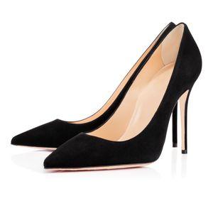 Nuevo Desnudo rosa rojos de tacón alto inferior del banquete de boda de triple brillo negro sandalias de los puntos del cuero de patente de plata de los remaches de las mujeres bombea los zapatos de moda