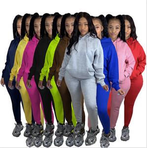 Womens foderato in pile di tuta solidi a due pezzi Outfits con Pocket con cappuccio cappuccio Pullover maglione e pantaloni panno sportivo Moda E101504