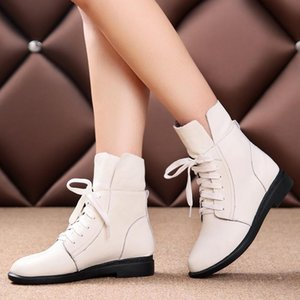 2020 New Women's Boots Comfortable Flats Heel Lace Up White Black Red Ankle Boots Casual Genuine Leather Short