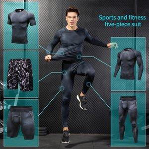 Yuerlian Sıkıştırma Erkekler Erkekler Gym Egzersiz Spor Suit Set Giyim Spor Koşucular Trainning Gym eşofman çalıştığı