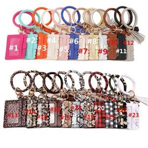 Wristlet Bracelet Keychain ID Card Holder Purse Handbag Leather Tassel Pendant Handbag Leopard Sunflower Print Bracelet For Women Girls