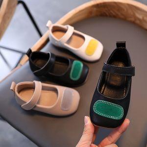 GihDd 2020 Pasted плоского осень новой Корейское издание наклеенной ткань девушка кожаной обувь квадратной голова ребенок обувь одного небольшие средний и Чил