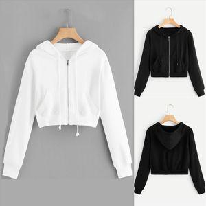 Fashion Women Hooded Sweatshirt Tops Casual Solid Long Sleeve Zipper Pocket Shirt Short Simple Female Sports long Sleeve Tops G1