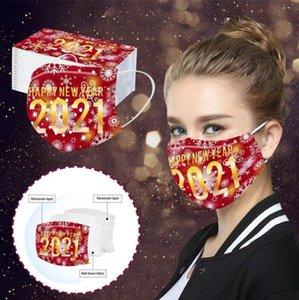Masques Visage adultes Bonne année Imprimer la couverture de la bouche 3 couches masques jetables à la poussière masque de protection respirant à la poussière Masque jetable DHC3318
