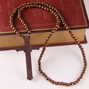 Christians Good Wood Hip Hop Necklace Rosary Neck Jewelry Crucifix Pendant Necklace ps1388