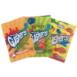 Gushers Candy Bags Medicated Fruit Snack 500MG Worlds Dankest Tropical And Sour Tropical Flavors Edibles Gummies Packaging Mylar Bags