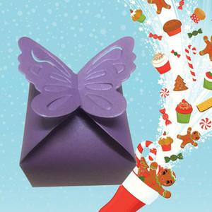 10pcs Caja de caramelo creativa Caja de papel iridiscentes encantadores Cajas de regalo de embalaje de papelísticos para festival de bodas (púrpura)