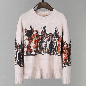 Winter Warm O-neck Cute Cat Print Sweater Men Fashion Knitted Sweater 2020 Men Slim Fit Pullovers sous pull homme
