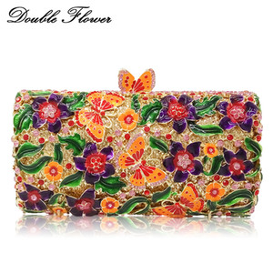 Double Flower Butterfly Floral Mulheres Cristal Noite Handbags Hard Case Metal Wedding Embreagens Saco Nupcial Minaudiere Embreagem C0121