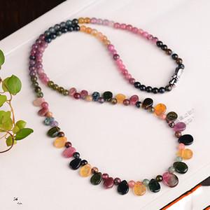 Großhandel JoursNeige Turmalin Naturstein-Halskette mit Regentropfen-Anhänger Prinzessin Halskette für Frauen Geburtstagsgeschenk Schmuck 200928
