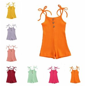 Kids Designer Girls Sling Jumpsuits Baby Solid Lace-up Rompers Summer Bodysuits Pants Casual Boutique Playsuits Climb Clothes BC7591